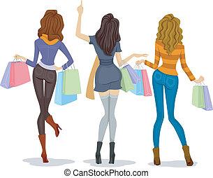 compradores, costas, femininas, vista