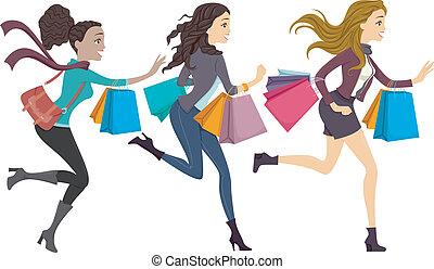 compradores, executando, femininas