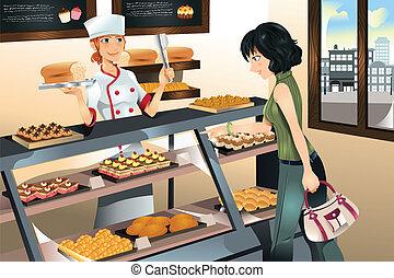 comprando, bolo, em, panificadora, loja