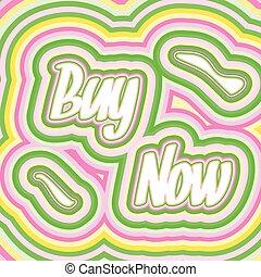 comprar, 60s, ilustración, vector, palabras, ahora, estilo
