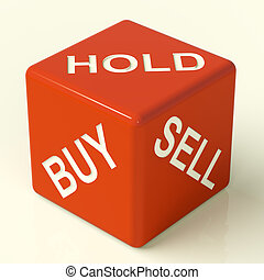 comprar, asimiento, y, venda, rojo, dados, representar, acciones, estrategia
