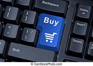 comprar, azul, botón, ordenador teclado, internet, concept.