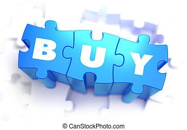 comprar, -, blanco, palabra, en, azul, puzzles.
