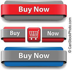 comprar, botones, conjunto