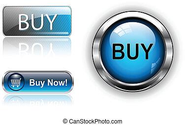 comprar, botones, iconos, set.