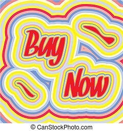 comprar, ilustración, 70s, vector, palabras, ahora, estilo