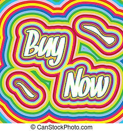 comprar, ilustración, vector, retro, palabras, ahora, estilo