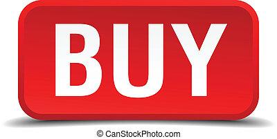 comprar, tridimensional, botón, aislado, cuadrado, plano de ...