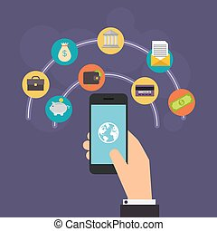comprar, vector, transacción, en línea, diseño, conceptos, ...