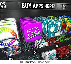 comprar, venta, app, apps, máquina, descargue, compras