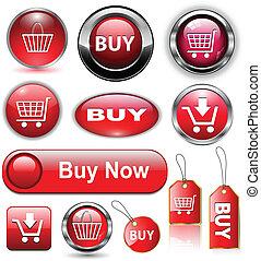comprare, bottoni, icone, set.