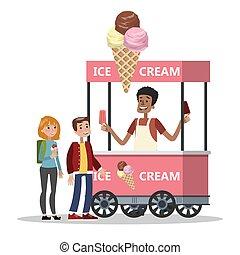 comprare, crema, carrello, ghiaccio, bambini