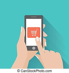 comprare, holing, bottone, mano, telefono, schermo, far male