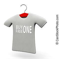 comprare, libero, uno, t-shirt, concetto, illustrazione