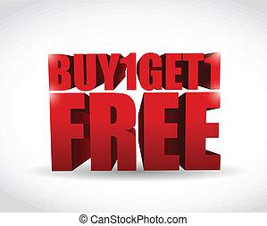 comprare, ottenere, testo, illustrazione, uno, libero, 3d