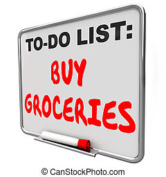 comprare, shopping, ricordare, elenco, commissione, compito, drogherie, promemoria