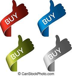comprare, shopping, semplice, menu, etichette, -, articoli, carrello, bottoni, vettore, fondo, mani, bianco, gesto