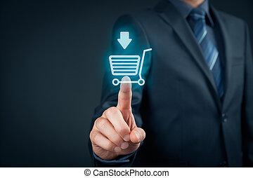 comprare, su, e-negozio