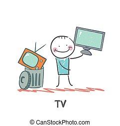 comprare, vecchio, tv, nuovo, tiri, uomo