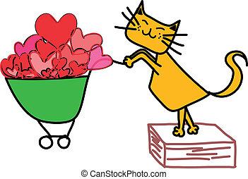 compras, amarillo, carrito, gato