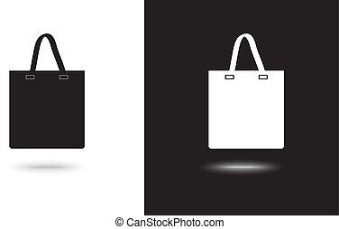 compras, -, bolsa, vector, fondo negro, blanco, icono