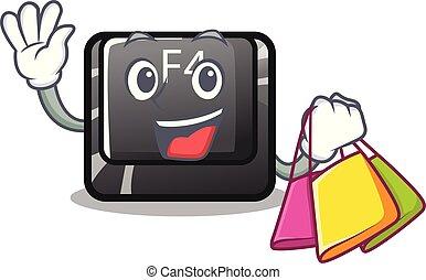 compras, carácter, botón, f4, aislado
