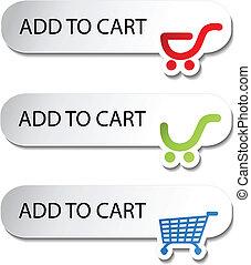 compras, -, carrito, botones, artículo, agregar, vector
