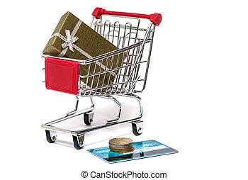 compras, carrito, regalo