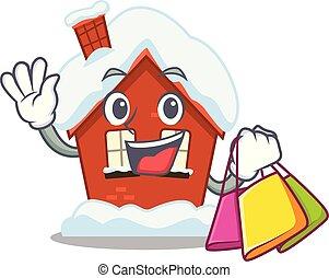 compras, casa, forma, caricatura, invierno