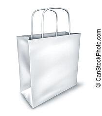 compras, cima, bolsa, blanco, blanco, vista
