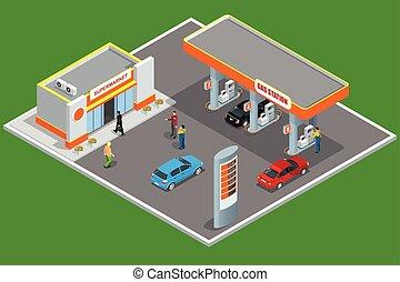 compras, coche, service., bomba, estación, gas, rellenar, ...