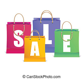 compras, como, etiquetas, venta, bolsa, vector
