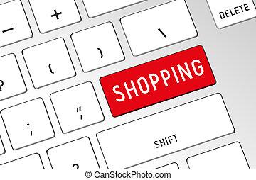 compras, computadora, -, 3d, teclado