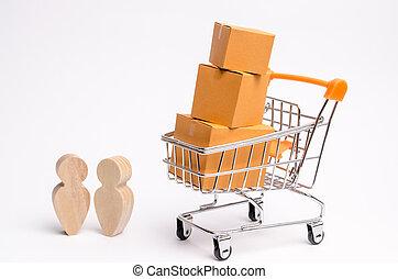 compras, concepto, transporte, trato de la corporación mercantil, gente, monday., en línea, boxes., friday., comercio, entrega, negro, estante, kibber, carretilla, servicios, goods., cartón, charla