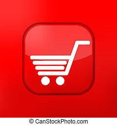 compras, corregir, eps10., vector, fácil, icon., rojo