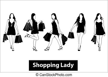 compras, dama