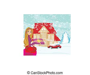 compras de christmas, día, nevoso
