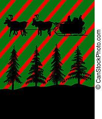 compras de christmas, silueta, ilustración