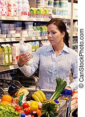 compras, de, fruta, vegetales, en, el, supermercado