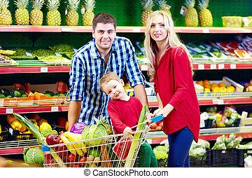 compras de la familia, en, tienda de comestibles, mercado