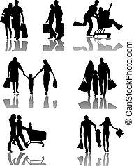 compras de la familia, siluetas, con, sombra