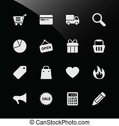 compras de la tela, ecommerce, iconos