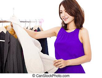 compras de mujer, asiático, sonreír feliz, ropa