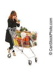 compras de mujer, carrito, etiqueta, lleno, lectura