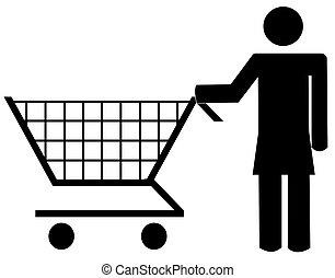 compras de mujer, figura, empujar, -, carrito, vector, ilustración