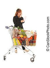compras de mujer, recibo, carrito, lleno, lectura