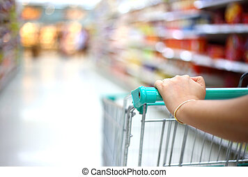 compras de mujer, supermercado, carrito, mano