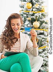 compras de mujer, tableta, árbol, joven, pc, en línea, ...