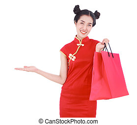 compras de mujer, tenencia, chino, aislado, bolsa mano, concepto, palma, plano de fondo, año, nuevo, blanco, abierto, feliz