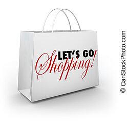 compras, dejarnos, bolsa, palabras, ir, blanco, mercancía